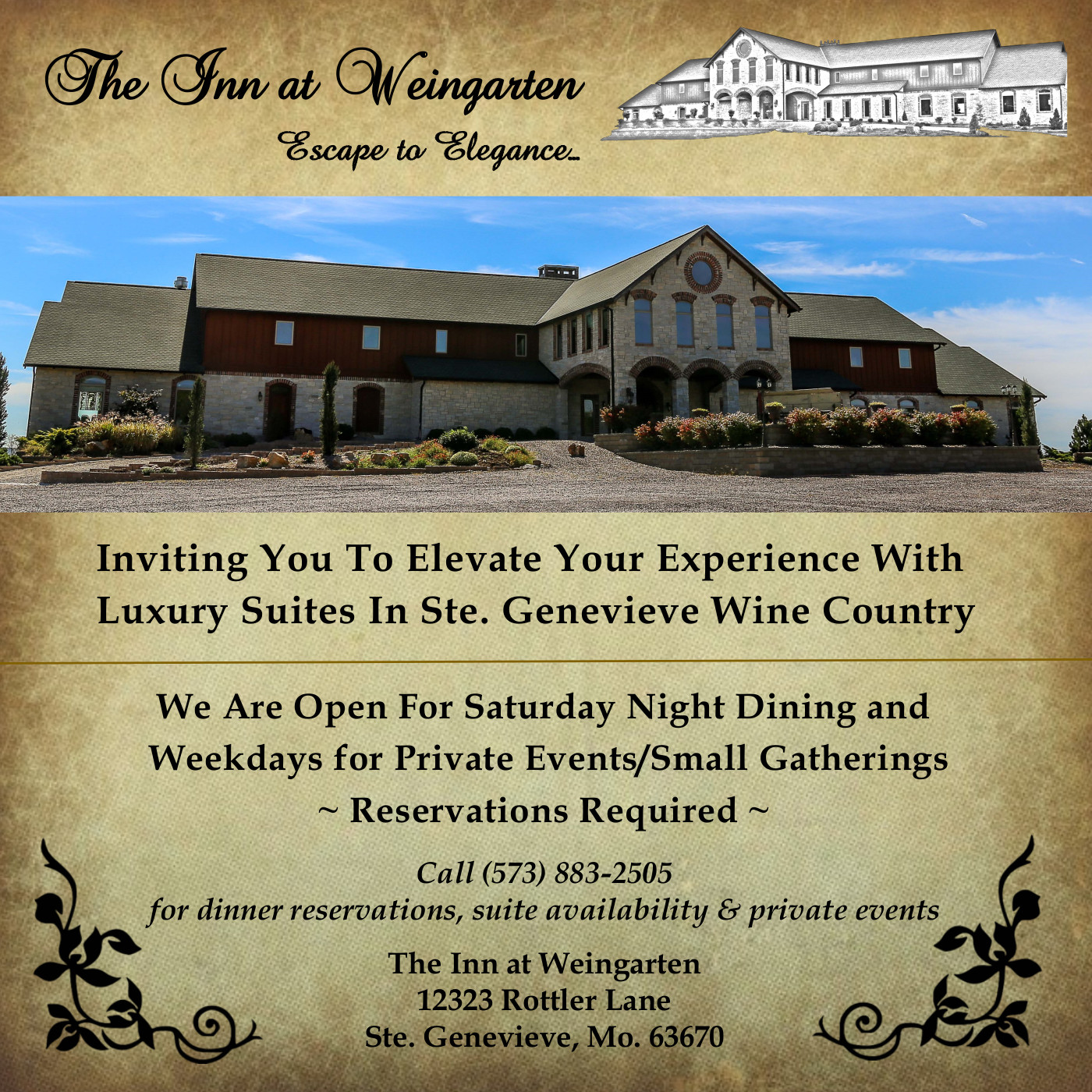 Coming soon, The Inn at Weingarten.  Call for details 573-883-2505. 12323 Rottler Lane, Ste. Genevieve, MO 63670